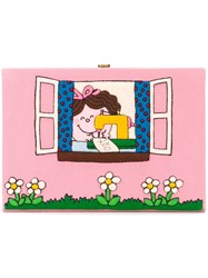 Olympia Le Tan Felt Patch Book Clutch Pink And Purple