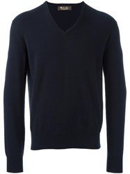 Loro Piana V Neck Jumper Blue