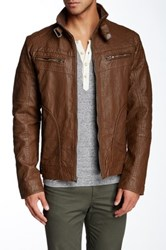 X Ray Distressed Faux Leather Jacket Brown