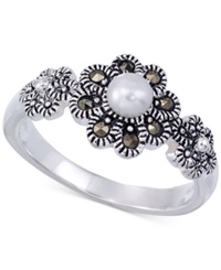Genevieve And Grace Cultured Freshwater Pearl 4Mm And Marcasite Flower Ring In Sterling Silver