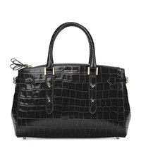 Aspinal Of London Croc Print Brook Street Bag Unisex Black