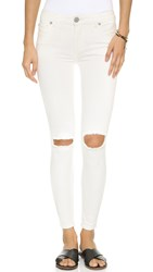 Free People Skinny Distressed Jeans Stark White