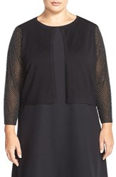 Plus Size Women's London Times Beaded Sleeve Cardigan
