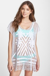 Seafolly 'Miami Summer' Embroidered Caftan Cover Up White