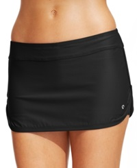 Next By Athena Solid Dolphin Hem Skirted Swim Bottom Women's Swimsuit Black