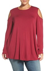 Bobeau Plus Size Women's Long Sleeve Cold Shoulder Top