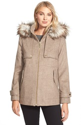 Kensie Hooded Duffle Coat With Faux Fur Trim Taupe