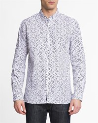 Knowledge Cotton Apparel White All Over Floral Print Button Down Collared Shirt