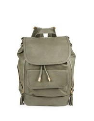 Kensie Zip Accent Faux Leather Backpack Ash