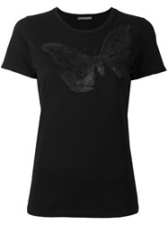 Alexander Mcqueen Moth Embroidered T Shirt Black