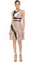 Prabal Gurung Cutout Colorblock Flare Dress Sunflower