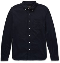 Beams Plus Slim Fit Button Down Collar Cotton Jersey Shirt Blue