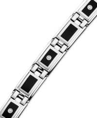 Macy's Men's Stainless Steel And Black Enamel Diamond Bracelet 1 8 Ct. T.W.