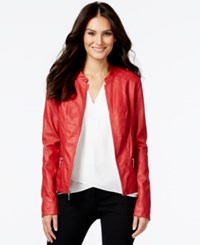 Alfani Faux Leather Bomber Jacket Only At Macy's Red