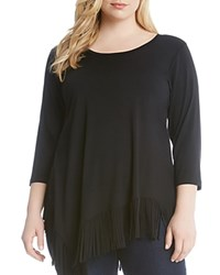 Karen Kane Plus Asymmetric Fringed Tee Black