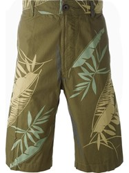 Diesel 'P Cooper' Tropical Print Bermuda Shorts Green
