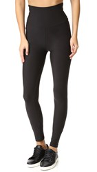 Plush High Waist Matte Fleece Leggings Black