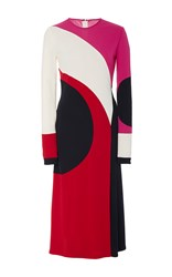 Naeem Khan Long Sleeve Swirl Front Slit Dress Black Red White