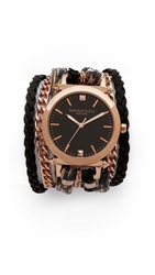 Sara Designs Printed Leather And Chain Wrap Watch Palm Rose Gold