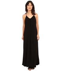 Michael Stars Modern Rayon Maxi Slip Dress Black Women's Dress