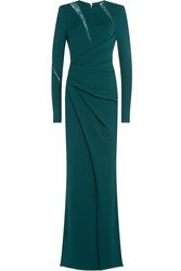 Elie Saab Draped Floor Length Gown With Lace Green