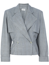 Alaia Vintage Houndstooth Skirt Suit Grey