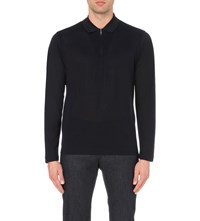 Brioni Long Sleeve Cotton And Silk Blend Polo Shirt Navy