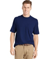 Izod Men's Big And Tall Solid Double Layer Jersey Pocket T Shirt Navy Stitch
