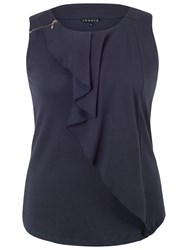 Chesca Waterfall Front Jacquard Top Navy