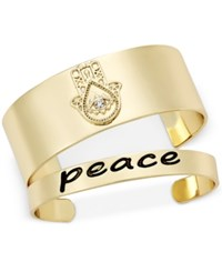 Macy's Inspired Life 2 Pc. Set Hamsa Hand And Peace Cuff Bracelets Gold