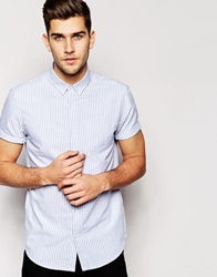 New Look Short Sleeve Oxford Shirt In Stripe Blue