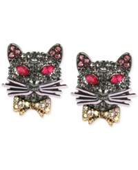 Betsey Johnson Hematite Tone Pave Cat Stud Earrings