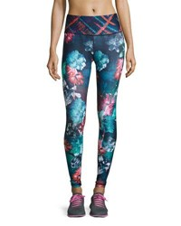 Nanette Lepore Play Graphic Floral Print Performance Leggings Blue Pattern