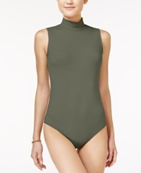 Say What Juniors' Mock Neck Bodysuit Dusty Olive