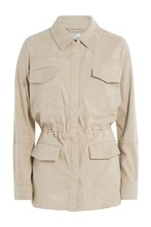 Vince Leather Jacket With Drawstring Waist Beige