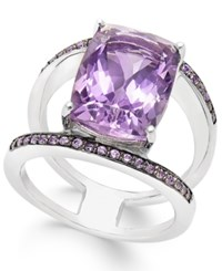 Macy's Amethyst 5 Ct. T.W. And Swarovski Zirconia Statement Ring In Sterling Silver