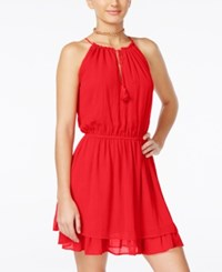 Alice Through The Looking Glass Juniors' Keyhole Halter Dress Red