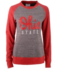 J America Women's Ohio State Buckeyes Triblend Fleece Crew Sweatshirt Gray Red Heather