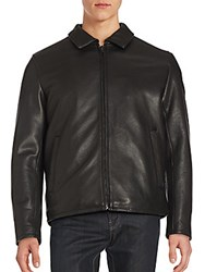 Vince Camuto Solid Leather Jacket Black