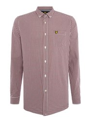 Lyle And Scott Gingham Check Long Sleeve Shirt Claret