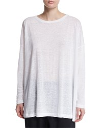 Eskandar Long Sleeve Linen T Shirt White