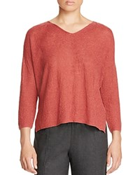 Eileen Fisher V Neck Textured Organic Cotton Sweater Cinnabar