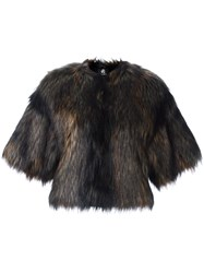 Paul Smith Ps By Cropped Fur Jacket Grey