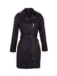 Morgan Cotton Piped Detail Trench Coat Navy