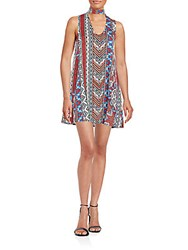 Minkpink Beaded And Printed Shift Dress Red Multi