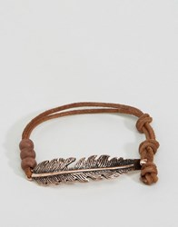 Icon Brand Feather Bracelet In Brown Brown