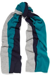 Magaschoni Color Block Cashmere Scarf Teal