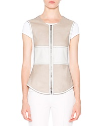Callens Colorblock Leather Vest Stone White