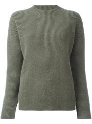 Zanone Lateral Slits Ribbed Jumper Green