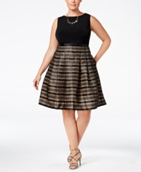 Jessica Howard Plus Size Striped Fit And Flare Dress Butternut